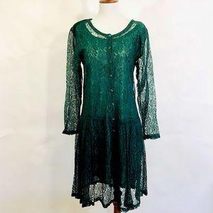 Nostalgia Green Lace Dress Vintage 90s